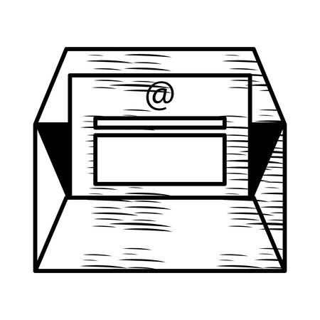 sketch of envelope with letter page icon over white background, vector illustration