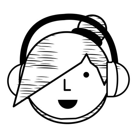 sketch of Cartoon girl with headphones over white background, vector illustration