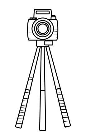 sketch of camera on the tripod over white background, vector illustration Illustration