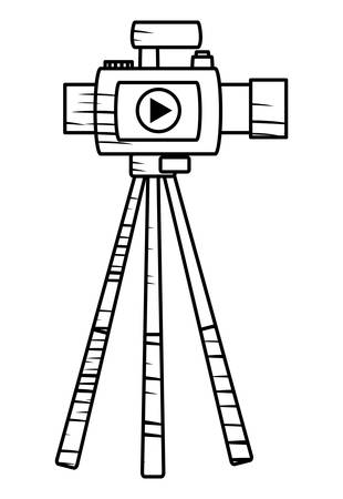 VIdeo camera on the tripod icon over white background, vector illustration