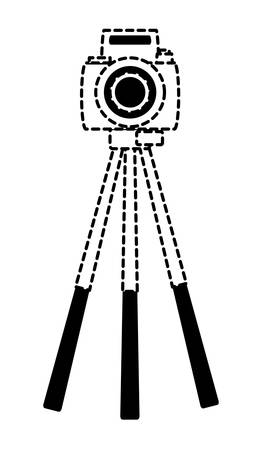 camera on the tripod over white background, vector illustration