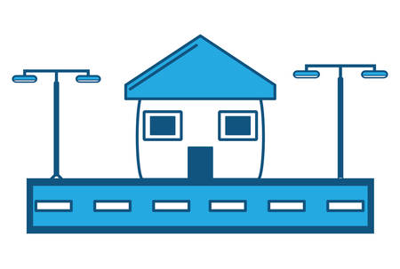 Street with city lamps and house icon over white background, blue shading design. vector illustration