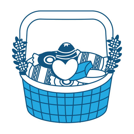 Basket with candies icon over white background, blue shading design. vector illustration Illustration