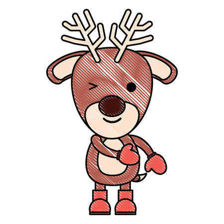 cute deer with boots and gloves over white background. chritstmas animals concept. colorful design. vector illustration