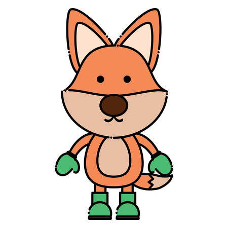cute fox with boots and gloves over white background. christmas animals concept. colorful design. vector illustration Illustration
