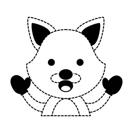 cute fox with gloves over white background vector illustration