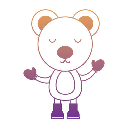 cute bear with gloves and boots over white background, christmas animals concept. colorful design. vector illustration Illustration