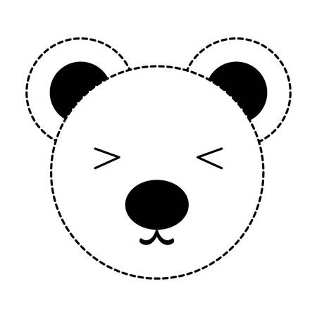 cute bear face icon over white background, vector illustration