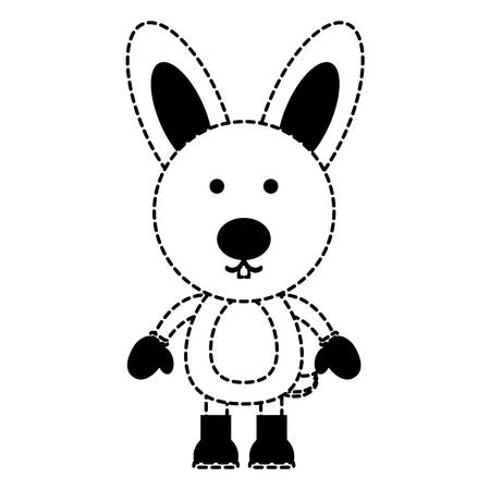 cute rabbit with boots and gloves over white background. christmas animals concept. vector illustration