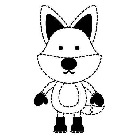 cute fox with boots and gloves over white background. christmas animals concept. vector illustration Illustration