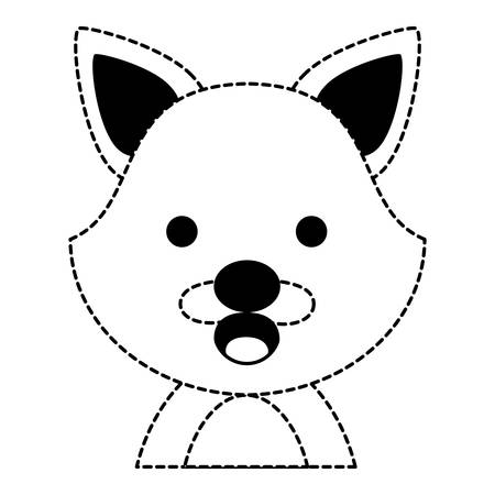 cute happy fox  animal icon over white background, vector illustration