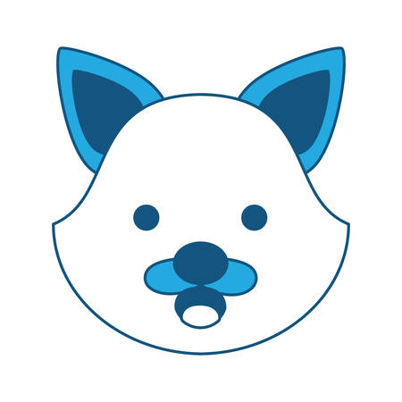 cute fox face icon over white background, blue shading design. vector illustration
