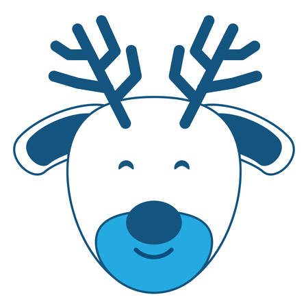 Cute deer icon over white background, blue shading design. vector illustration