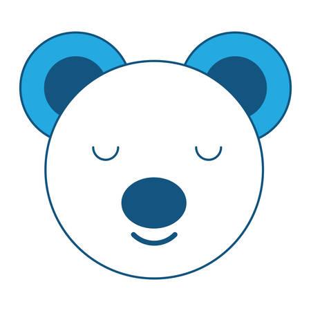 cute bear animal icon over white background, blue shading design. vector illustration