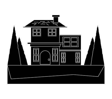 two floors house with trees around over white background vector illustration