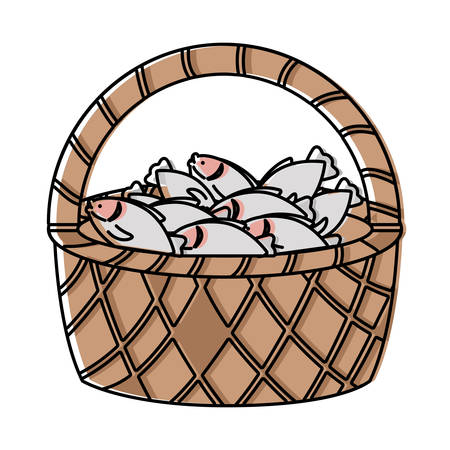 Basket with fish over white background, colorful design  vector illustration