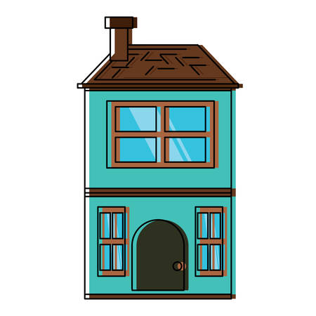 Two floors house icon over white background, colorful design. vector illustration