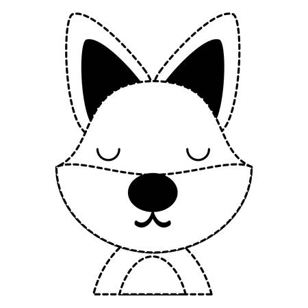 cute fox  animal icon over white background, vector illustration 向量圖像