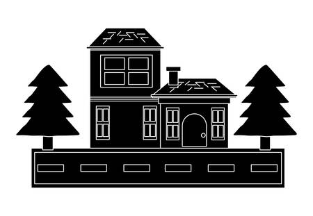 Two floors house with pine trees and the street  over white background vector illustration