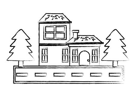 sketch of Street with houses and trees over white background, vector illustration Stock Illustratie