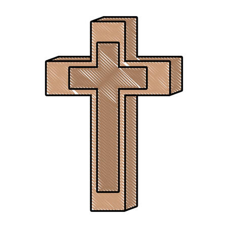 Wooden cross icon over white background, colorful design. vector illustration