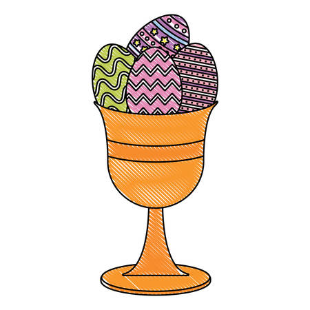 Holy grail with easter eggs over white background, colorful design. vector illustration