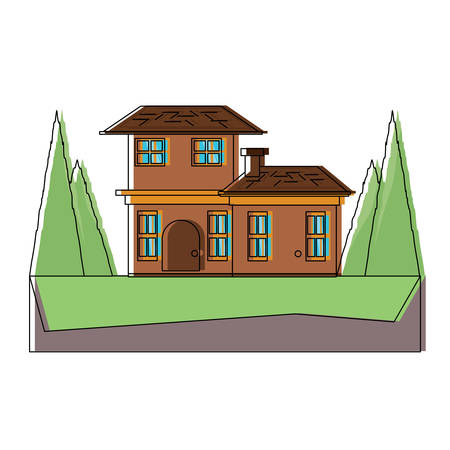 two floors house with trees around over white background, colorful design. vector illustration Illusztráció