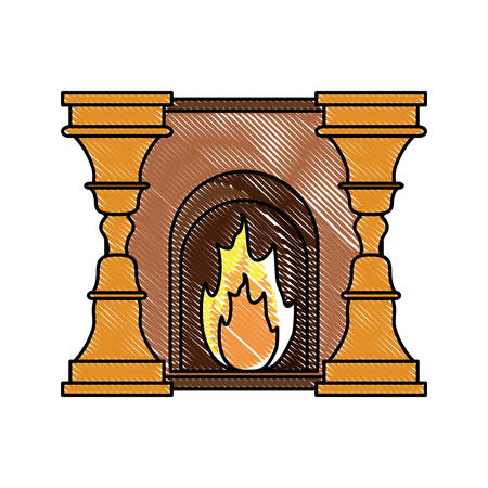 Home fireplace with fire over white background, colorful design. vector illustration Vettoriali