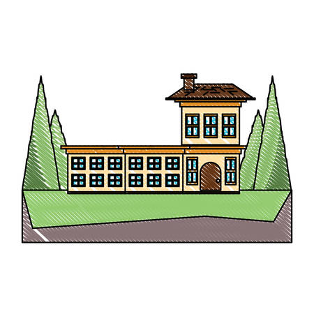 Big house surrounded by trees over white background colorful design. vector illustration  イラスト・ベクター素材