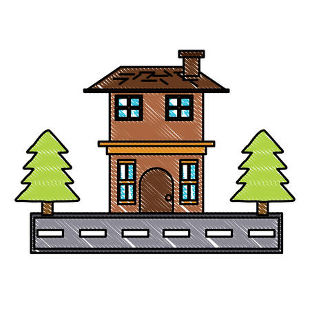 Two floors house with pine trees and the street  over white background colorful design vector illustration