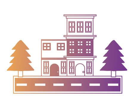 Street with houses and trees over white background, colorful design. vector illustration