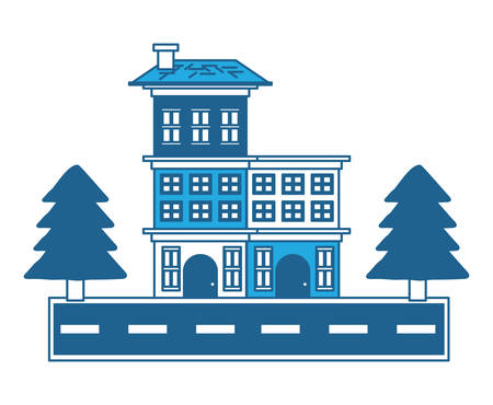Street with houses and trees over white background, blue shading design. vector illustration