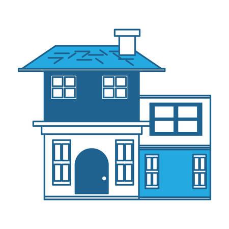 Two floors house icon over white background, blue shading design. vector illustration Ilustração