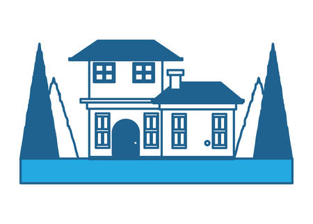 two floors house with trees around over white background, blue shading design. vector illustration