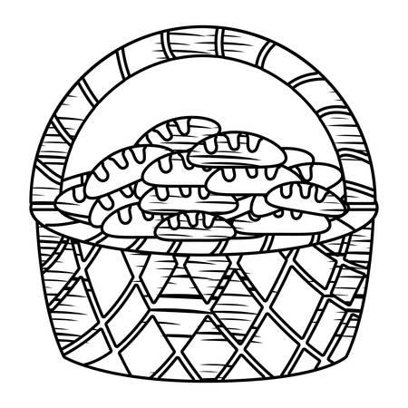 panier avec des pains sur fond blanc illustration vectorielle
