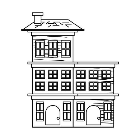 sketch of Residential houses over white background, vector illustration