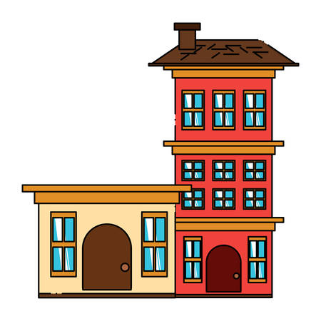 Residential houses over white background, colorful design. vector illustration Illustration
