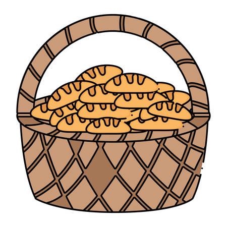 Panier de pains sur fond blanc, design coloré. illustration vectorielle
