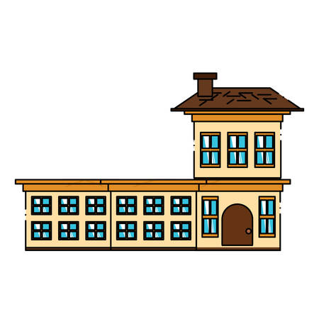 Residential big house icon over white background, colorful design. vector illustration