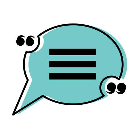 Quotation mark speech bubble over white background, colorful design. vector illustration Illustration