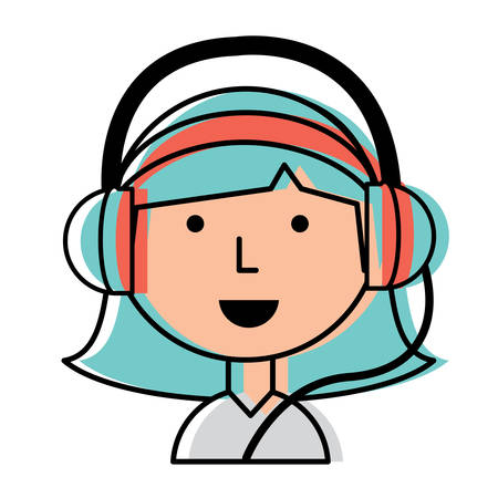 Cartoon girl with headphones over white background, colorful design. vector illustration