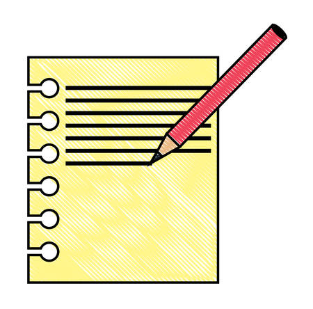notebook sheet and pencil icon over white background, colorful design. vector illustration