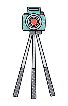 camera on the tripod over white background, colorful design. vector illustration