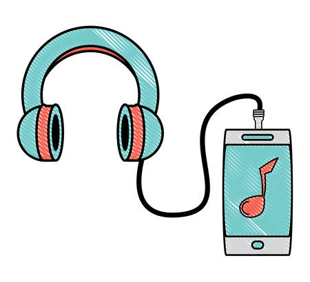music player device and Headphones icon over white background, colorful design. vector illustration Illustration