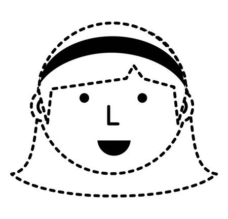 Cartoon woman face icon over white background vector illustration