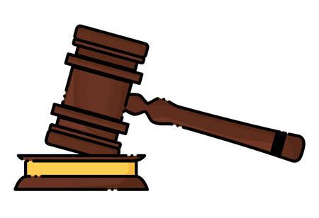 Law hammer icon over white background, colorful design. vector illustration Illustration