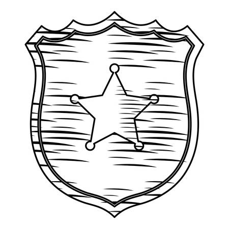 sketch of Sheriff shield icon over white background, vector illustration