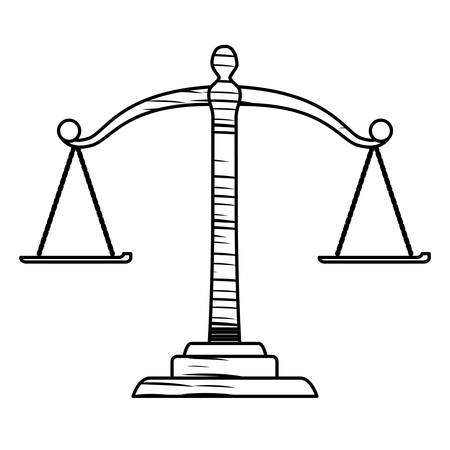sketch of law scale icon over white background, vector illustration 向量圖像