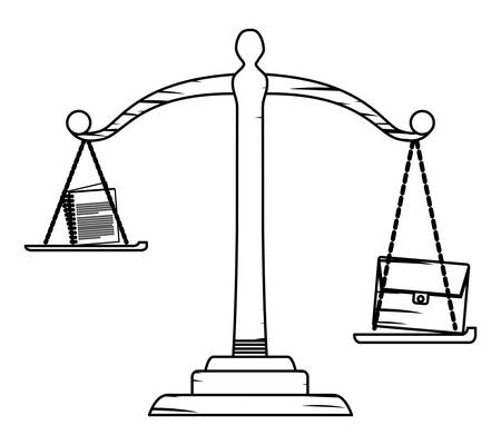sketch of law scale with briefcase and documents over white background, vector illustration