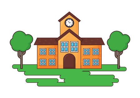school building and trees icon over white background, colorful design. vector illustration